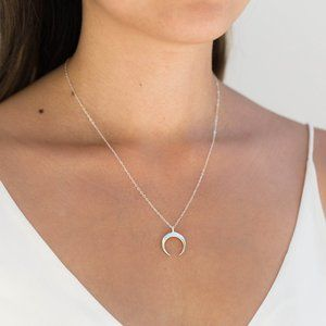 Dainty Horn Necklace (Silver)